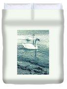 Misty Blue Swans Duvet Cover