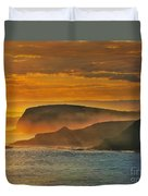 Misty Island Sunset Duvet Cover