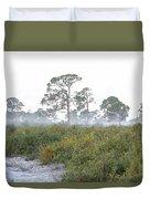 Misty Morning On The Trail Duvet Cover