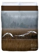 Misty Mute Swans Soaring South Jersey Wetlands Duvet Cover