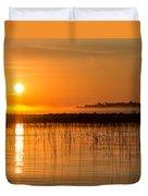 Misty Orange Sunrise On Boy Lake Duvet Cover