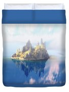 Misty Phantom Ship Island Crater Lake Duvet Cover