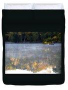 Dark Shoreline Frames Misty Fall Reflections On Jamaica Pond Duvet Cover