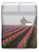 Misty Tulip Fields Iv Duvet Cover
