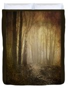Misty Woodland Path Duvet Cover by Meirion Matthias