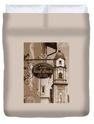 Mittenwald Cafe Sign In Sepia Duvet Cover