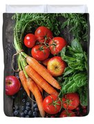 Mix Of Fruits, Vegetables And Berries Duvet Cover