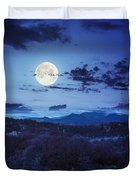 Mixed Forest Near Valley In Mountains  On Hillside At Night Duvet Cover