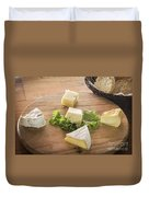 Mixed French Cheese Platter With Bread Duvet Cover