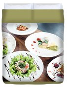 Mixed Modern Gourmet Fusion Food Dishes On Table Duvet Cover