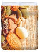 Mixed Nuts On Wooden Background Duvet Cover