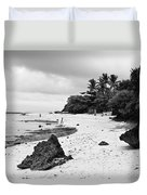 Moalboal Cebu White Sand Beach In Black And White Duvet Cover