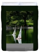 Model Boats Central Park New York Duvet Cover