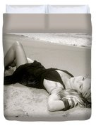 Model On Beach Duvet Cover