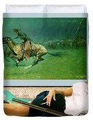 Modeling, Frederick Remingtons, Stampede By Lightning, Advanced Guard Duvet Cover