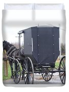 Modern Amish Horse And Buggy Duvet Cover