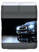 Modern Black Metallic Sedan Car In Spotlight. Banner Duvet Cover