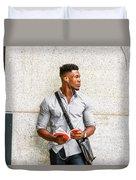 Modern College Student In New York Duvet Cover