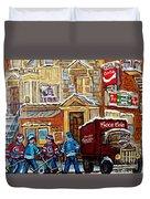 Moe's Corner Snack Bar And Diner Montreal Landmark  Restaurant Canadian Art Carole Spandau Duvet Cover