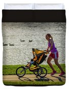 Moher And Child Jogging Duvet Cover