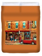 Moishes Steakhouse On The Main By Montreal Streetscene Painter Carole  Spandau  Duvet Cover