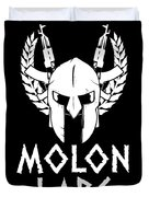 Molon Labe Spartan Warrior Helmet Rifles Duvet Cover