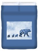 Mom And Baby Bears-blue Duvet Cover