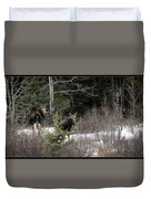Mom And Calf  In The Forest Duvet Cover