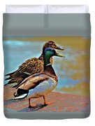 Mom And Pop At The River Duvet Cover