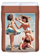 Mom With Girls At Beach Duvet Cover