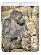 Momma And Baby Gorilla Duvet Cover