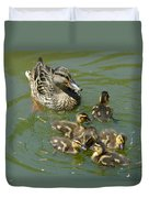 Momma Duck With Babies Duvet Cover