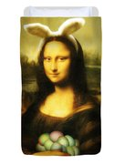Mona Lisa Easter Bunny Duvet Cover