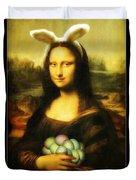 Mona Lisa Easter Bunny Duvet Cover