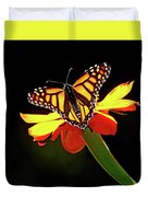 Monarch And Tithonia Light And Shadow Duvet Cover