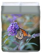 Monarch Butterfly And Purple Flowers Duvet Cover