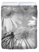 Monarch Butterfly In Black And White Duvet Cover