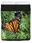 Monarch Butterfly In Lush Leaves Duvet Cover