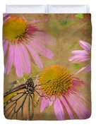 Monarch Butterfly In Pink Duvet Cover