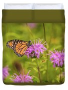 Monarch Butterfly On Bee Balm Flower Duvet Cover