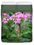 Monarch Butterfly On Pink Flowers  Duvet Cover