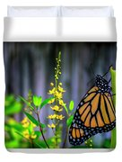 Monarch Butterfly Poised On Green Stem Among Yellow Flowers Duvet Cover