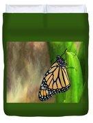 Monarch Butterfly Poised On Green Stem Duvet Cover