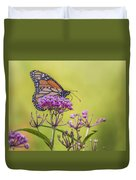 Monarch On Pink Flower Duvet Cover