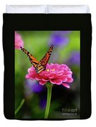 Monarch On Zinnia 3 Duvet Cover