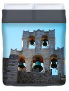 Monastery Bell Tower On Patmos Island Greece Duvet Cover