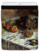 Monet Claude Still Life Apples And Grapes Duvet Cover