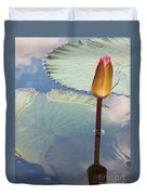 Monet Water Lily Stem Red Orange Duvet Cover