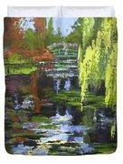 Monets Garden Painting Palette Knife Duvet Cover