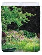 Monet's Garden Pond And Boat Duvet Cover